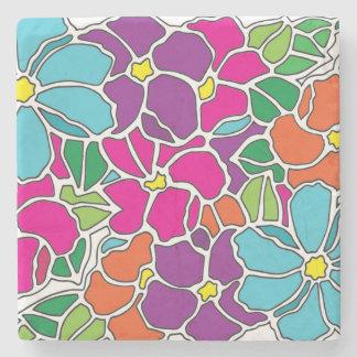 Vitral floral vibrante posavasos de piedra