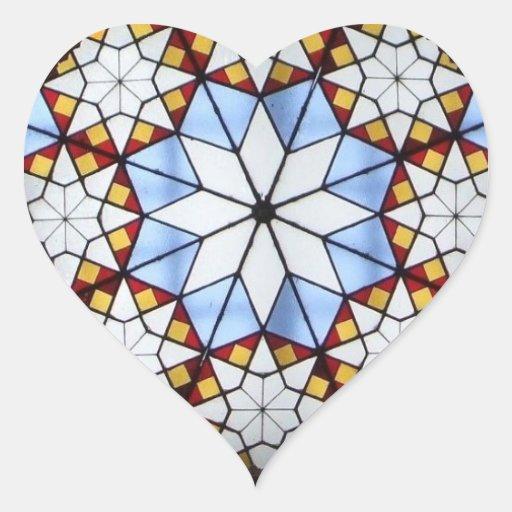 Vitral geométrico calcomanía de corazón personalizadas