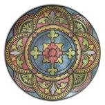 Vitral medieval plato de comida