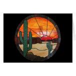 Vitral Notecard de la puesta del sol del desierto