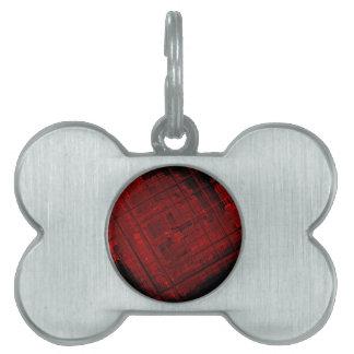 Vitral por satélite en rojo sangre placas de mascota
