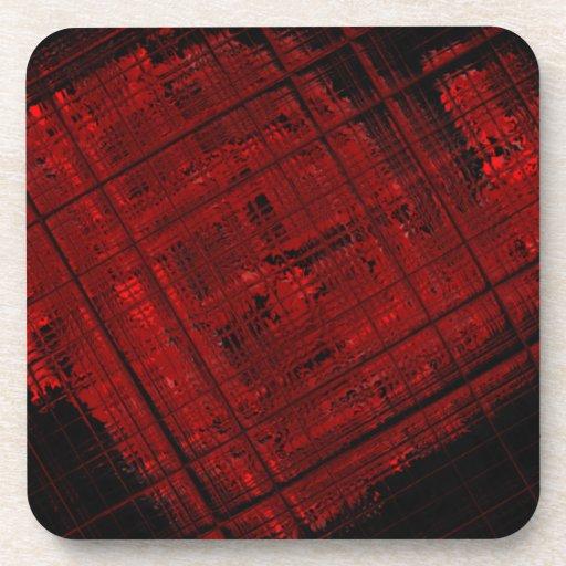 Vitral por satélite en rojo sangre posavaso