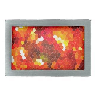 Vitral rojo ardiente hebilla cinturón rectangular
