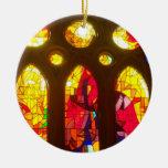 Vitral rojo y azul ornaments para arbol de navidad