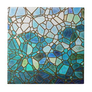 Vitral subacuático de la escena azulejo cuadrado pequeño