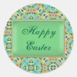 Vitral verde Pascua Etiquetas Redondas