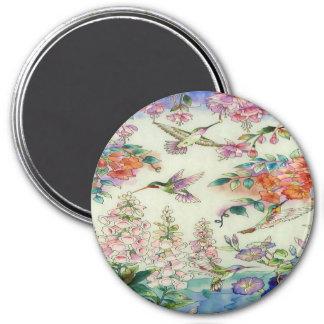 Vitral wow de las flores de los colibríes imán redondo 7 cm