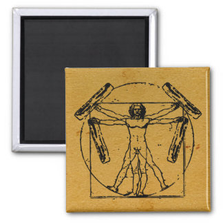 Vitruvian Bacon Man 2 Inch Square Magnet