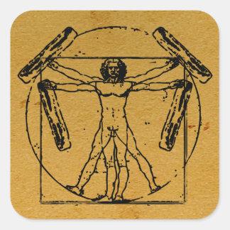 Vitruvian Bacon Man Square Sticker