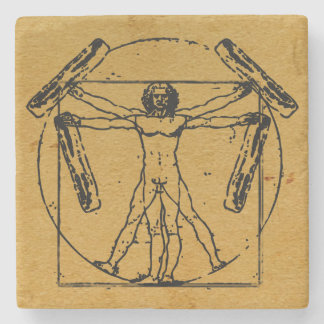 Vitruvian Bacon Man Stone Coaster