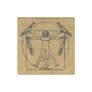 Vitruvian Bacon Man Stone Magnet