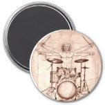 Vitruvian Drummer 3 Inch Round Magnet