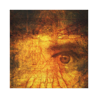 Vitruvian Man And Human Eye Poster Canvas Print