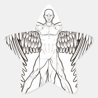 Vitruvian Man Angel Star Sticker