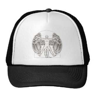 Vitruvian Man Angel Trucker Hat
