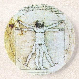 VITRUVIAN MAN Antique Parchment Drink Coaster