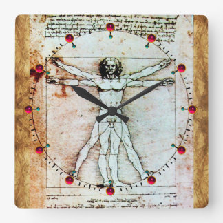 VITRUVIAN MAN Antique Parchment Red Ruby Gemstones Square Wall Clock
