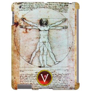 VITRUVIAN MAN Antique Parchment Red Ruby Monogram