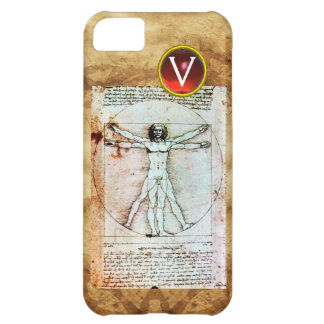 VITRUVIAN MAN Antique Parchment Red Ruby Monogram Case For iPhone 5C