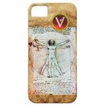 VITRUVIAN MAN Antique Parchment Red Ruby Monogram iPhone 5 Case