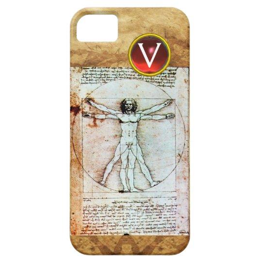 VITRUVIAN MAN Antique Parchment Red Ruby Monogram iPhone SE/5/5s Case