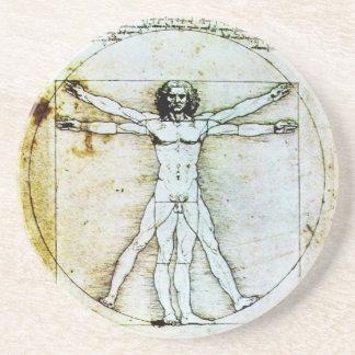 VITRUVIAN MAN Antique Parchment Sandstone Coaster