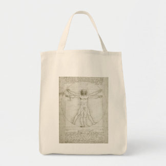 Vitruvian Man by Leonardo da Vinci Grocery Tote Bag