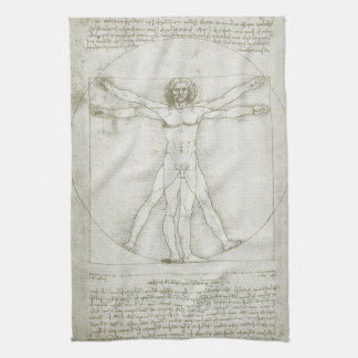 Vitruvian Man by Leonardo da Vinci Kitchen Towels