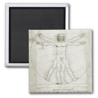 Vitruvian Man by Leonardo da Vinci 2 Inch Square Magnet