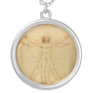 Vitruvian Man by Leonardo da Vinci Round Pendant Necklace