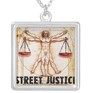 Vitruvian Man by Street Justice Square Pendant Necklace