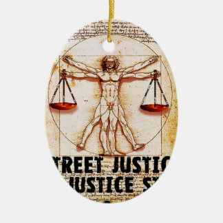 Vitruvian Man by Street Justice Double-Sided Oval Ceramic Christmas Ornament