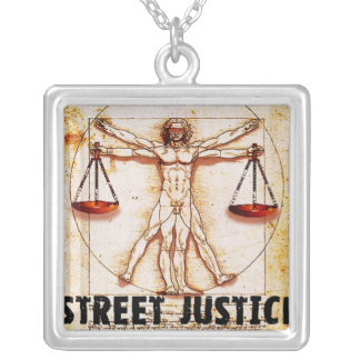 Vitruvian Man by Street Justice Silver Plated Necklace
