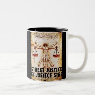 Vitruvian Man by Street Justice Two-Tone Coffee Mug
