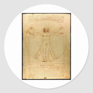 Vitruvian man. classic round sticker