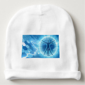 Vitruvian Man Hexagon Background Baby Beanie