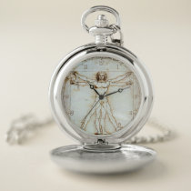 Vitruvian Man, Leonardo da Vinci, circa 1490. Pocket Watch