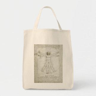 Vitruvian Man Leonardo da Vinci, Renaissance Art Canvas Bags
