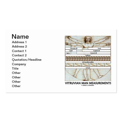 Vitruvian man measurements da vinci business card zazzle for Business cards measurements