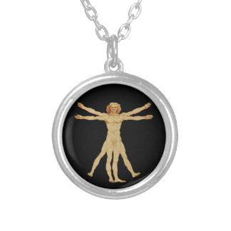 Vitruvian Man Round Pendant Necklace