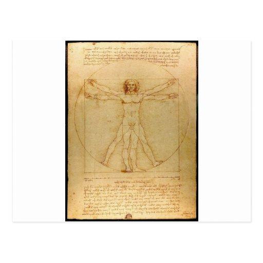 Vitruvian man. postcards