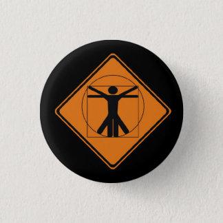 vitruvian man road sign pinback button