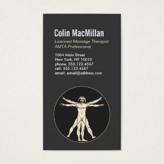 Vitruvian Man Sports Massage Therapist 2 Business Card