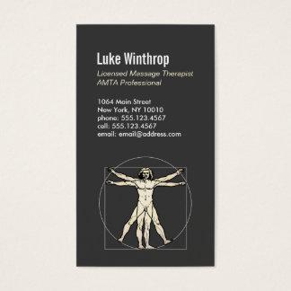 Vitruvian Man Sports Massage Therapist 6 Business Card