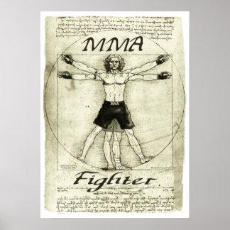 Vitruvian MMA Man Poster