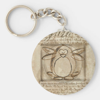 Vitruvian Penguin Basic Round Button Keychain