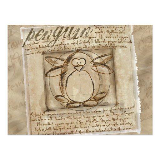 Vitruvian Penguin Post Card