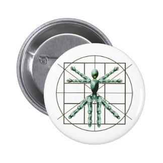 Vitruvian Robot Pinback Buttons