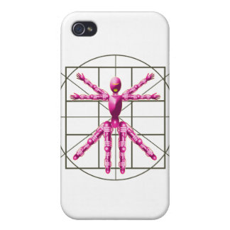 Vitruvian Robot - Pink Covers For iPhone 4