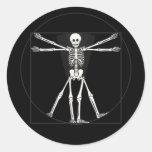 Vitruvian Skeleton Lite Classic Round Sticker